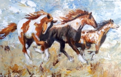 Galloping Horses in Acrylics