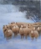 Sheep in the Snow in Acrylics