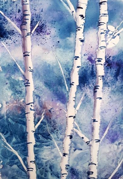 Birch Trees in Watercolours